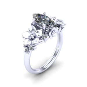 a7c5acf80a1 Nature Inspired 14K White Gold 1.5 Ct Marquise White Sapphire Diamond Leaf  Vine Unique Floral Engagement Ring R1026M-14KWGDWS